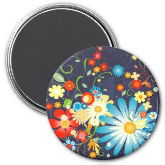 Floral Explosion of Color on Blue Magnet