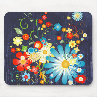 Floral Explosion of Color on Blue Mouse Pad