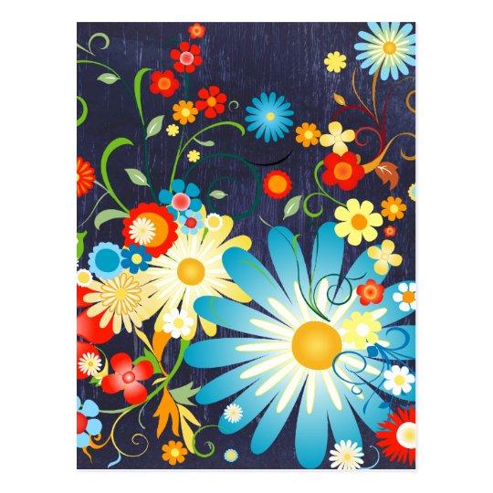 Floral Explosion of Color on Blue Postcard