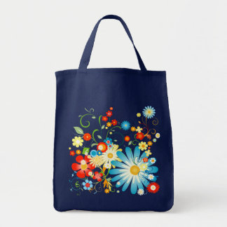 Floral Explosion of Color on Blue Tote Bag
