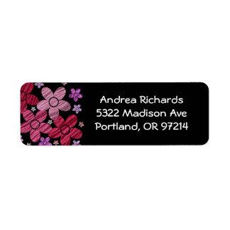 Floral Explosion on Black Address Label