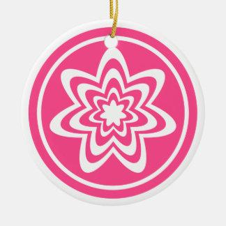 Floral Explosion Ornament, Pink Ceramic Ornament