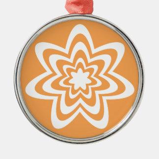 Floral Explosion Premium Round Ornament Orange