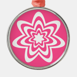 Floral Explosion Premium Round Ornament Pink