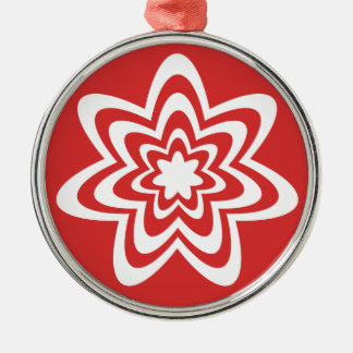 Floral Explosion Premium Round Ornament Red
