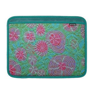 Floral Extravaganza Colorful Flowers Doodle Teal MacBook Sleeve