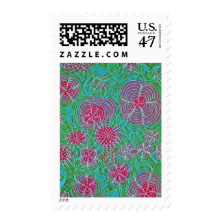 Floral Extravaganza Colorful Flowers Doodle Teal Postage