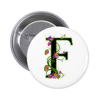Floral F Pinback Button