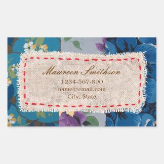 Floral Fabric Patchwork (Blue) Address Sticker