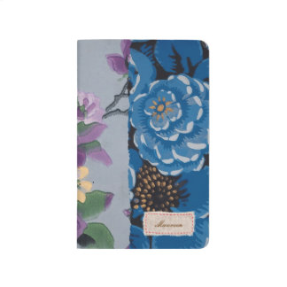Floral Fabric Patchwork (Blue) Personalized Journal