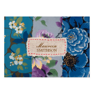 Floral Fabric Patchwork (Blue) Personalized Large Business Card