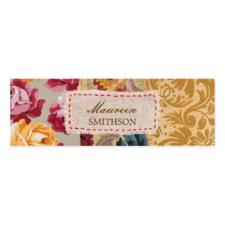 Floral Fabric Patchwork (Gold) Personalized Double-Sided Mini Business Cards (Pack Of 20)