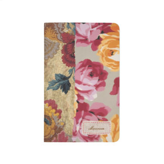 Floral Fabric Patchwork (Gold) Personalized Journal