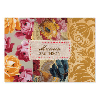 Floral Fabric Patchwork (Gold) Personalized Large Business Card