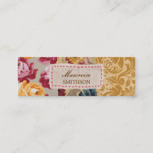 Fabric business cards templates zazzle floral fabric patchwork gold personalized mini business card colourmoves
