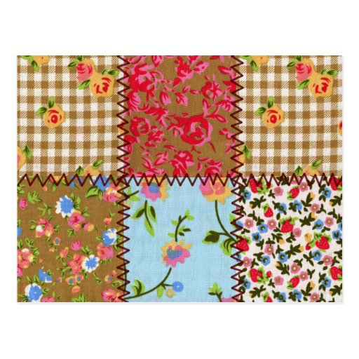 Floral Fabric Patchwork Postcard