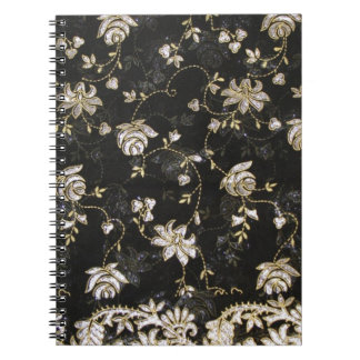 Floral Fabric Textile Design Spiral Notebook