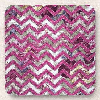 Floral Fabric Zig Zag Beverage Coasters