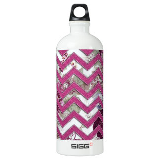 Floral Fabric Zig Zag Water Bottle