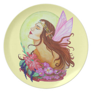 Floral Fairy Design Melamine Plate