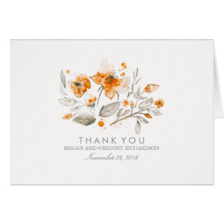 Floral Fall Vintage Watercolor Wedding Thank You Card