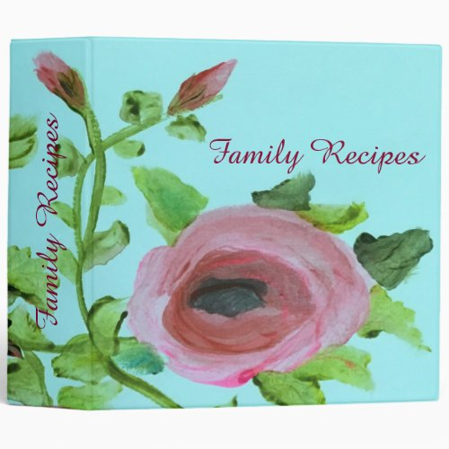 Floral Family Recipe Book 3 Ring Binder