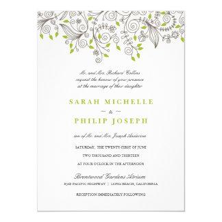 Floral Fancy Swirls Formal Wedding Invitations
