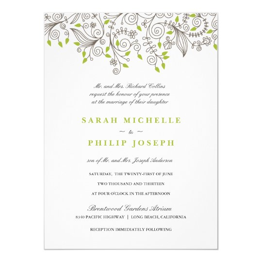 floral fancy swirls formal wedding invitations zazzle com