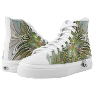Floral Fantasy, Abstract Fractal Art High-Top Sneakers