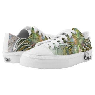 Floral Fantasy, Abstract Fractal Art Low-Top Sneakers