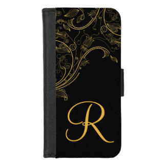 Floral Fantasy Black and Gold Ladies Monogram iPhone 8/7 Wallet Case