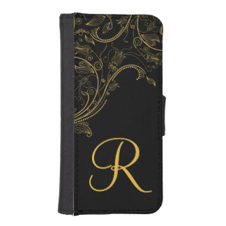 Floral Fantasy Black and Gold Monogram iPhone Phone Wallets