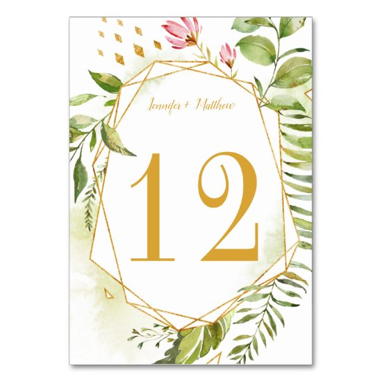 Floral Fantasy Botanical Geometric Watercolor Table Number