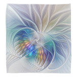 Floral Fantasy, Colorful Abstract Fractal Flower Bandana