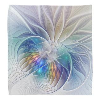 Floral Fantasy, Colorful Abstract Fractal Flower Bandana