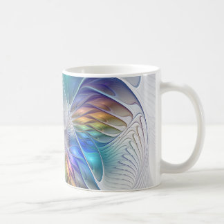 Floral Fantasy, Colorful Abstract Fractal Flower Coffee Mug