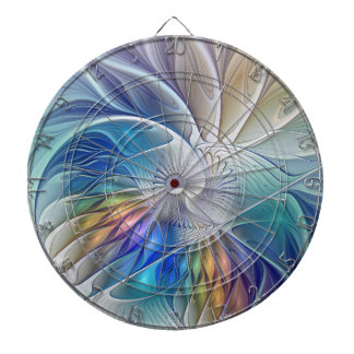 Floral Fantasy, Colorful Abstract Fractal Flower Dart Board