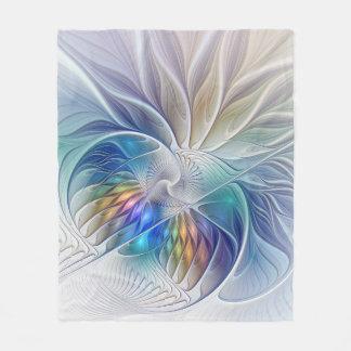 Floral Fantasy, Colorful Abstract Fractal Flower Fleece Blanket