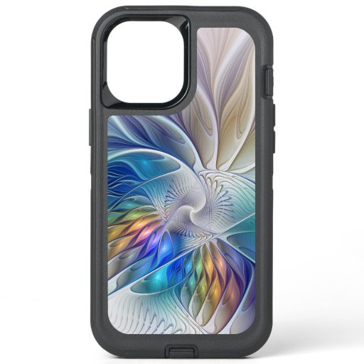 Floral Fantasy, Colorful Abstract Fractal Flower OtterBox Defender iPhone 12 Pro Max Case