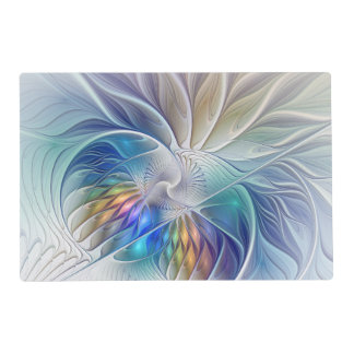 Floral Fantasy, Colorful Abstract Fractal Flower Placemat
