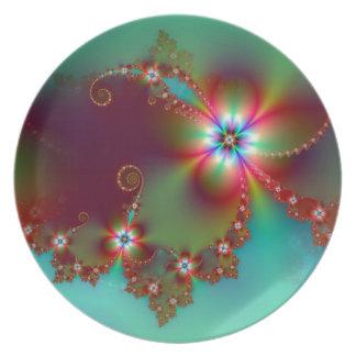 Floral Fantasy Fractal Melamine Plate