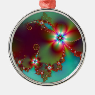 Floral Fantasy Fractal Metal Ornament