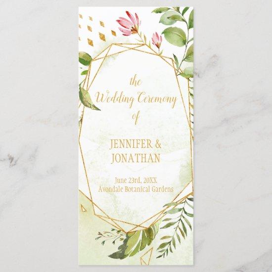 Floral Fantasy Geometric Botanical Wedding Program