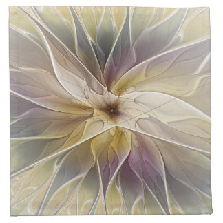 Floral Fantasy Gold Aubergine Abstract Fractal Art Cloth Napkin