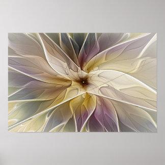 Floral Fantasy Gold Aubergine Abstract Fractal Art Poster