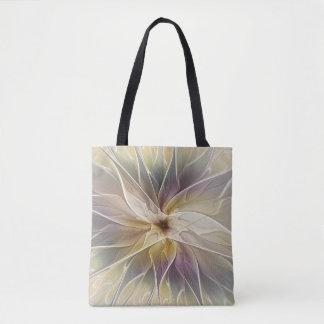 Floral Fantasy Gold Aubergine Abstract Fractal Art Tote Bag