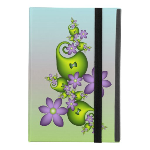 Floral Fantasy Lilac Flowers Green Shapes Fractal iPad Mini 4 Case