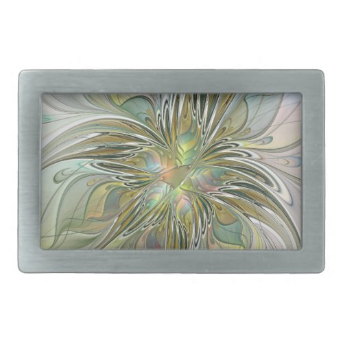 Floral Fantasy Modern Fractal Art Flower With Gold Belt Buckle