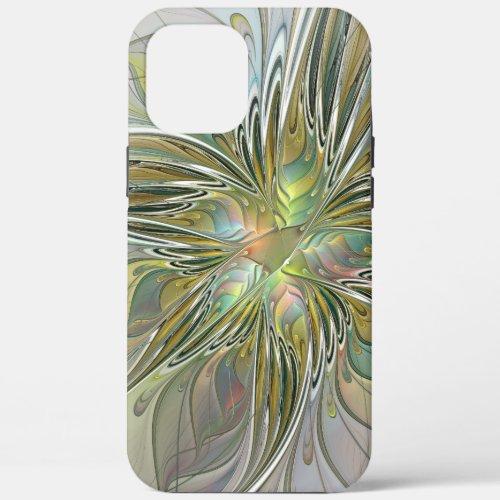 Floral Fantasy Modern Fractal Art Flower With Gold Phone Case