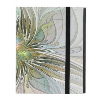 Floral Fantasy Modern Fractal Art Flower With Gold iPad Case